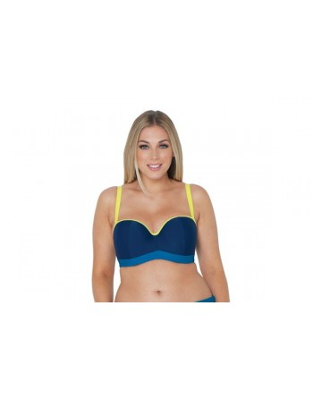 curvy kate swim maya voorgevormde bandeau bikini beha grote cupmaten 85e blue mix