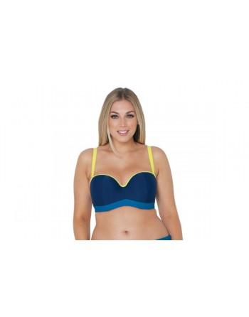 curvy kate swim maya voorgevormde bandeau bikini beha grote cupmaten  blue mix
