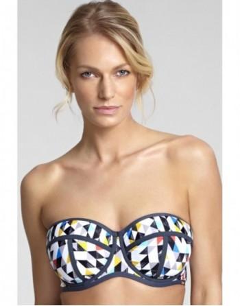 panache swim jolee voorgevormde bandeau bikini beha grote cupmaten harlequin