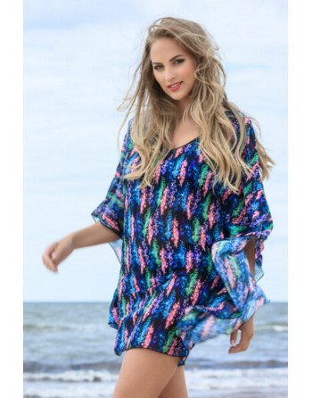 plaisir badmode kaftan funky feather black