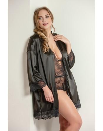 plaisir boudoir kimono 42-56 zwart