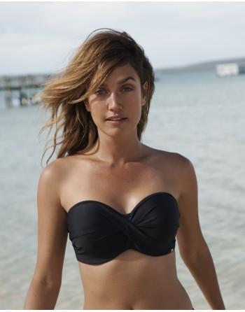 panache swim aya riva voorgevormde bandeau twist bikini beha grote cupmaten d-k / t. 65-85 zwart