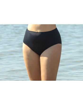 plaisir badmode solid color bikini slip hoge taille 42-56 zwart
