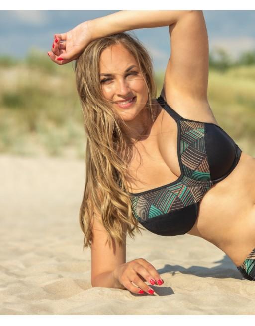 plaisir badmode harlequin hele cup bikini beha grote maten 90-105 cup c- h black/green lurex